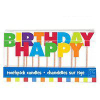 Party Time Molded Wide Letter Birthday Toothpick Candles, Pack of 13, Multi , 3 Wax, Toothpick