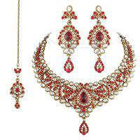 I Jewels Traditional Gold Plated Kundan Necklace Set with maang tikka for Women(Red)(K7036R)