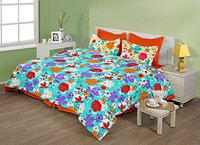 Birla Century Attraction Cotton Double Bedsheet with 2 Pillow Covers - Multicolor