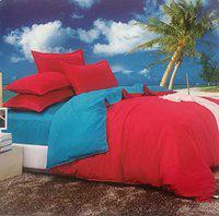 Dexim Exclusive Solid Poly Satin 4 Piece Bedding Set with Reversible Duvet Cover (Maroon/Sky)
