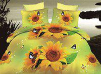 Dexim 3D Print Double Polysatin Bed Sheet with Two Pillow Cover Set (Orange)