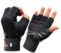 APRODO Leather Palm Gym Gloves with Wrist Support + Double Stitched