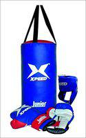 XpeeD Junior Boxing Set for Kids Black Green Filled 1.5 Feet Punching Bag Head Guard Boxing Gloves Small Age 4-8 Yrs Small Boys