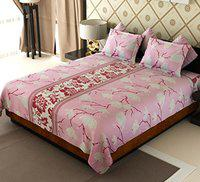 Home Candy Flowers Cotton Bedsheet with 2 Pillow Covers - Pink