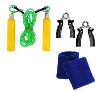 Body Maxx Combo Pack Of Hand Grippers + Skipping Rope + Wrist Bands