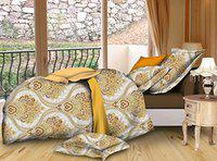 Dexim (120 GSM) 3D Printed Poly Satin Double Bed Sheet with Two Pillow Cover Set
