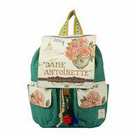 The House of Tara - Teal Green 16 Ltrs Cotton Canvas Travel Backpack for School, College, Office Accented with Printed Flap for Women