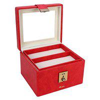 RICHPIKS Red Vanity Box/ Makeup Box with handle and clasp lock and key