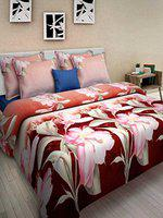 Homefab India 3D Printed Double BedSheet with 2 Pillow Covers