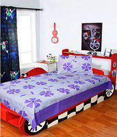 Homefab India 120 TC Cotton Single BedSheet with 1 Pillow Cover - Purple