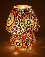 earthenmetal 9 inches Mushroom Shaped Glass Table lamp for Bedside Living & Home Decoration Turkish lamp (Multicolour, Bulb not Included); Made in India