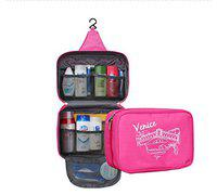 House of Quirk Hanging Travel Toiletry Cosmetic Makeup Organizer, Pink