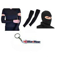 Bikenwear Full Arms Sleeve & Face Mask-Black with Keychain