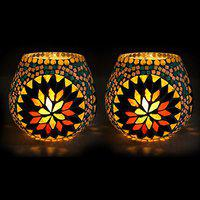 EarthenMetal Handcrafted Colourful Mosaic Decorated on White Candle Tealight Holder (Candle Light Holder) - Set of 2