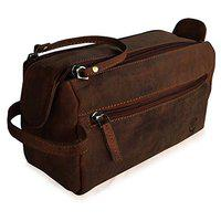Rustic Town Genuine Leather Toiletry Bag for Men & Women - Portable Travel Waterproof Dopp Kit (Dark Brown)