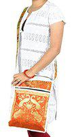 Lal Haveli Peacock & Elephant Work Design Silk Cross Body Bag Womes's Gift 10 X 15 Inches