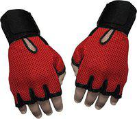 CP BIGBASKET Sportfit1_6 Gym Gloves And Sports Gloves Sweat leather (Red:Black_Large)