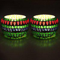 EarthenMetal Handcrafted Colourful Mosaic Decorated Pot Shaped Tealight Holder (Candle Light Holder)- Set of 2