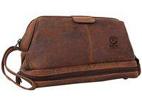 Rustic Town Genuine Leather Toiletry Kit - Great Gift for Men & Women - A Travel Accessory Bag (Brown)