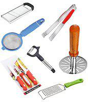 Combo of 7 Kitchen Tools vegetable & fruit & Potato Super Slicer Made from stainless steel (Plain) + Kitchen Knife & Peeler Set, 2 Knives 1 Peeler, 3 Pieces Set Made from stainless steel + Potato Vegetable Pav Bhaji Masher Set of one Masher Made from stainless steel + Stainless Steel Multipurpose Tong For Ice / Nylon Food / Salad / Roti / Chapati + Movable Vegetable & Fruit Pipe Peeler With Stainless Steel Blade + Cheese Grater Made from stainless steel (Small)-COM010