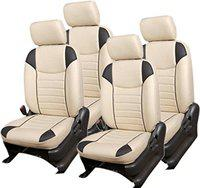 Khushal Leatherite Car Seat Covers Designer Front and Back Seat Cover Set for Maruti Alto K10 Beige/Black Alto 800 2012 to 2015 Model