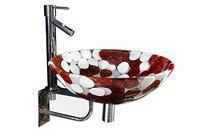 Lucky Gold Ash Acrylic Wash Basin with Stand and Adson Tap (Standard Size, Burgundy and White)