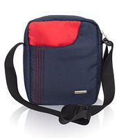 Cosmus Stitchwell Cross Body Sling Bag - Shoulder Side Bag - Multipurpose - 10 inch Tablet/iPad Sling Bag (Navy Blue & Red)