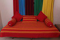 New Ladies Zone Cotton Red Striped Diwan Set (1 Single Bed Sheet, 2 Bolster Covers, 3 Cushion Covers)