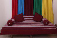 New Ladies Zone Cotton Maroon Striped Diwan Set (1 Single Bed Sheet, 2 Bolster Covers, 3 Cushion Covers)