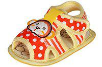 Ole Baby Teddy Face Skidproof Polka Dot Infant Toddler Outdoor Sandals First Walking Shoes Fashionable Premium Sandals 6-12 months