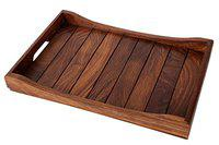 Craftbell Handcrafted Wooden Serving Tray In Sheesham Wood (14 x 10 Inch) Dinnerware & Serving Pieces, Serving Tray, Breakfast Table, Wooden Tray, Table Décor, Kitchen Serveware Dining Accessory, Breakfast Coffee / Tea Table Tray, Butler Serving Tray For Gift / Christmas Gift / New Year Gift
