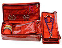 Atorakushon Satin Maroon Make-Up Pouch Jewellery 4 Pouch 1 roll Bangle Necklace Organizer EarringsHalf Set Bag for Women Girls Non Woven