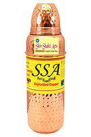 SHIV SHAKTI ARTS 9.5 X 2.5 Pure Copper Hammered Thermos Design Bottle 700 ML - Storage Drinking Water Home Hotel Restaurant Benefit Yoga Ayurveda Healing