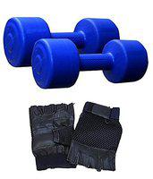 Aurion Matrix2 Plastic Dumbell Set with Free Gym Gloves, 4Kg (Blue/Green/Yellow)