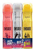 Engage Deodorant for Women, 150ml / 165ml Buy 2 Get 1 Free (Blush, Drizzle & Tease) (Weight May Vary)