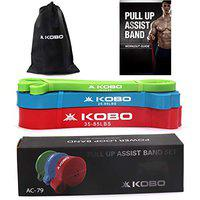 Kobo AC-79 Power Loop/Resistance Band Rubber Pullup Assist 41 inch Mobility & Body Stretching, Powerlifting, Resistance Training, 15-35lbs, 25-65lbs, 35-85lbs, (Green/Blue/Red) Workout Guide Booklet