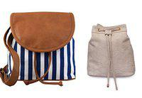Kleio Combo of Casual Sling Bag & Striped Sling Bag