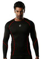 Omtex Compression Top Full Sleeve Plain Red for Gym Fitness and Sports - Small