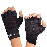 JoyFit Weight Lifting Gloves with 12 Wrist Wrap Support for Workout, Gym, Sports (Red-Black ,Extra Large)