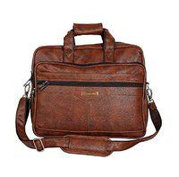 Handcuffs 12.5 litres Rust Colour Leather/Office Bag for Men- 16 Inch (32)