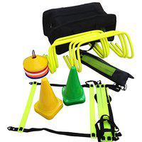Sahni Sports Pro Speed and Agility Soccer Training Kit,Including (6 Hurdles 9''+ 8 Meter Agility Ladder with Bag +Set Ground Marker Cones+ Set of Disc Saucer Marker Cones + Kit Bag (Multi-Colour)