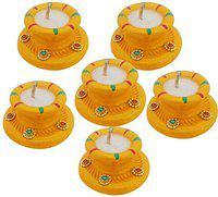 Sky Trends Diwali Gift Set, Best Gift Diwali Home Decorative Candle Green White 6-Diya Set