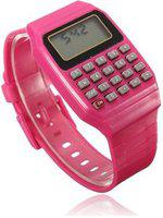 Pappi-Haunt - QUALITY ASSURED - Unisex Silicone Smart Reddish Pink Calculator Digital Led Wrist Band for Boys, Girls, Kids