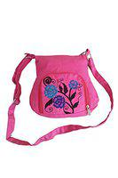 Fly Angels Pink stylish sling bag with embroidery for Girls/women/Ladies