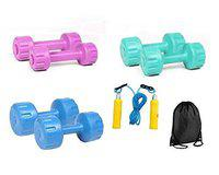 Body Maxx Colored Pvc Vinyal Dumbells Pack (12 Kg) With Skipping Rope + Gym Bag Pack