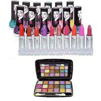 Adbeni Good choice Combo Makeup set of 23 pcs Lipstick 10pc, Nail Paint 12 Pc Eyeshadow 18 color 1pc