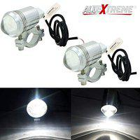 AllExtreme EXU1SP2 U1 CREE LED Fog Light Universal Silver Body Waterproof Headlamp with Mounting Brackets for Motorcycle and Cars (7W, White Light, 2 PCS)