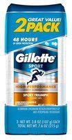 Gillette Deodorant Twin Pack Sport Triumph 3.8 Ounce Clear Gel (112ml) (3 Pack)