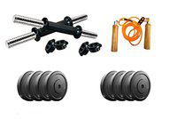 Aurion RR-18 Rubber Home Gym Dumbbell Set with Skipping Rope (Combo of 2), 18 Kg (Multicolour)