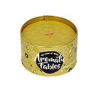 First Row Aromatic Fables Bosco Pond Fragrance Soy Wax Yellow Color Wood Wick Tin Candle; 7Oz